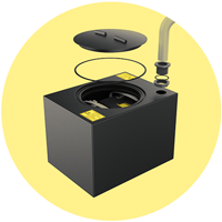 A dedicated, watertight and robust closure for batteries. Serves many applications.